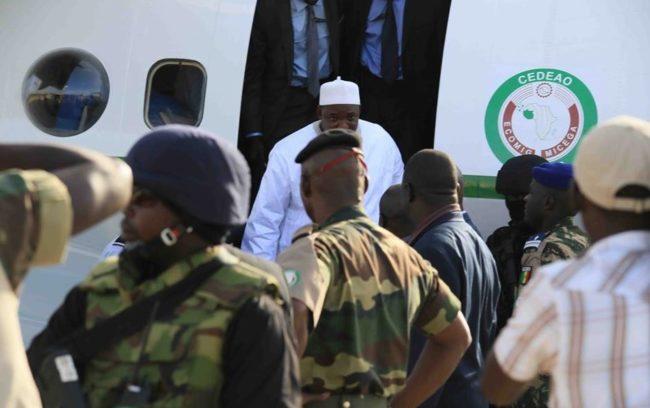 Barrow Gets off the plane in banjul OkayNG - PHOTOS: Jubilation In Gambia As President Adama Barrow Returns Home