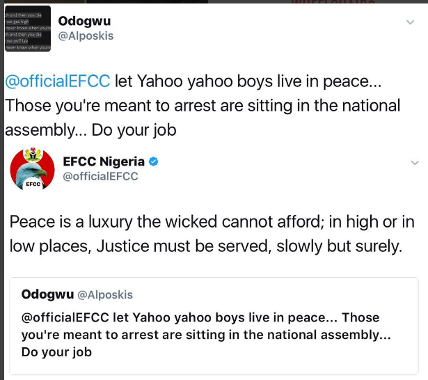 PHOTO: Between EFCC and a 'yahoo-yahoo' Sympathizer