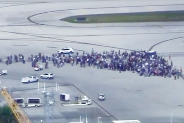 People evacuated onto the runway after a shooting at Fort Lauderdale airport - Scores Shot Dead, 9 Injured at Florida International Airport