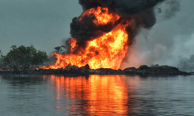 pipeline inferno - Niger Delta Militants Blow Up Pipeline After Osinbajo's Visit
