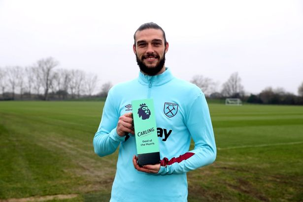 Andy Carroll Receives the Premier League Goal of the Month Award OkayNG - Andy Carroll Wins Premier League Goal of the Month Award