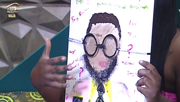C5w g32WAAEtP6L - #BBNaija:Housemate Tasked To Draw Portrait Of Big Brother – (See Photos)