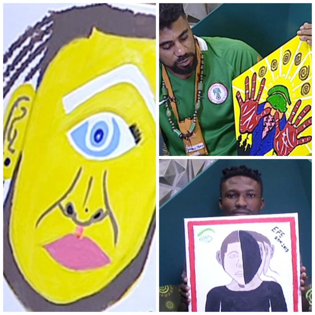 C5w7ye XEAER pR 1024x1024 - #BBNaija:Housemate Tasked To Draw Portrait Of Big Brother – (See Photos)
