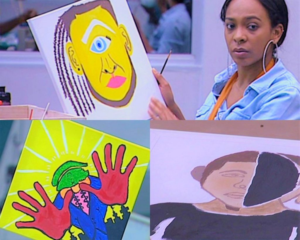 C5wnu85XEAAuIGw 3 1024x819 - #BBNaija:Housemate Tasked To Draw Portrait Of Big Brother – (See Photos)