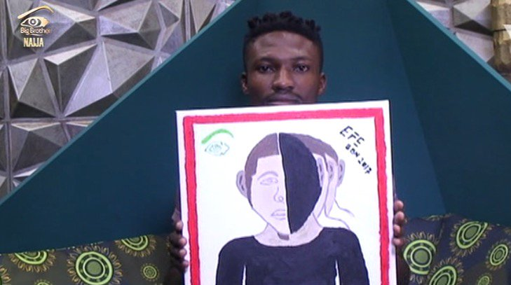 C5wyQ6SWYAA cnZ 8 - #BBNaija:Housemate Tasked To Draw Portrait Of Big Brother – (See Photos)