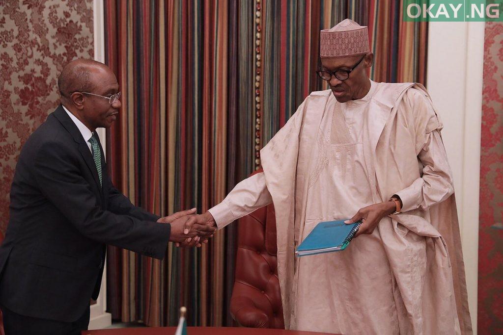 Buhari Emefiele 1024x683 - PHOTO: President Buhari Receives CBN Governor, Godwin Emiefele at His Office