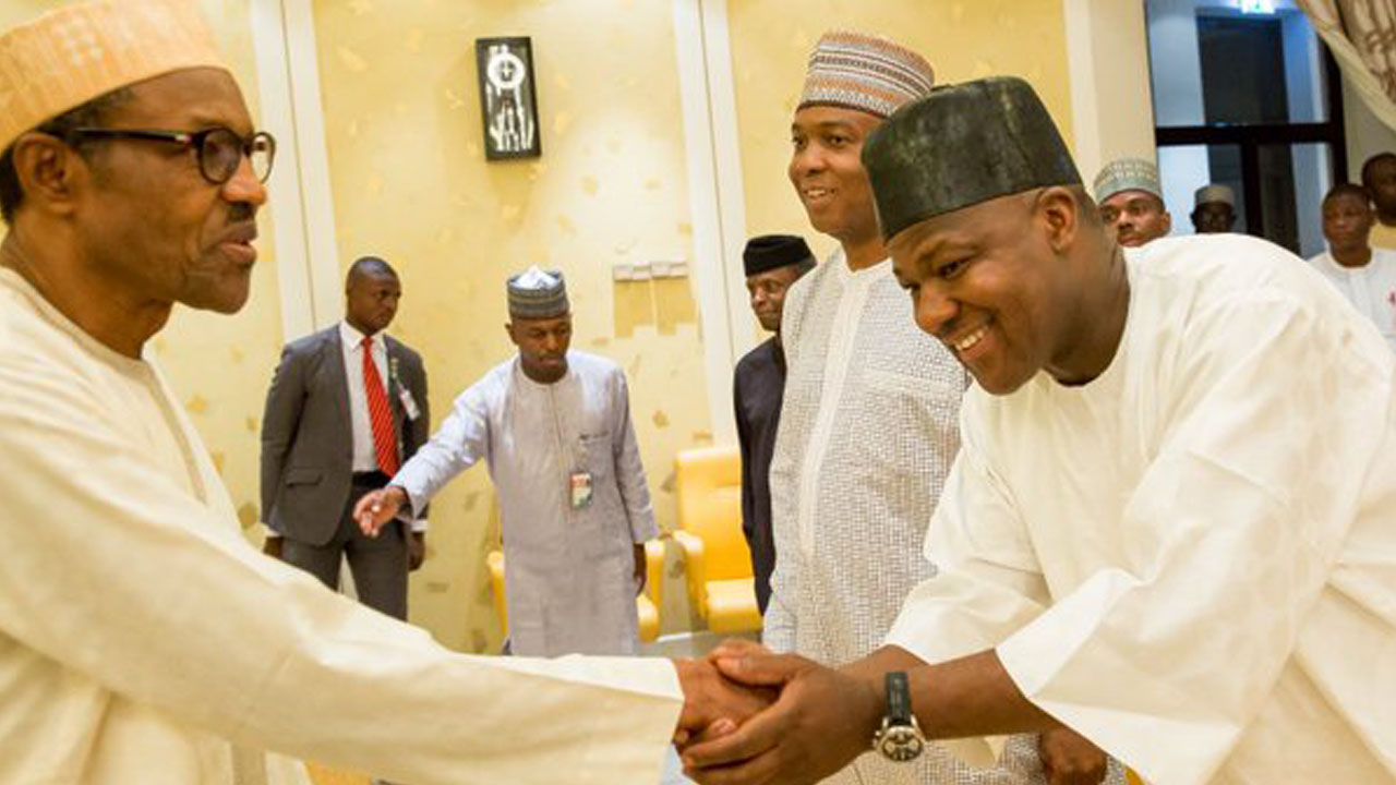Buhari Saraki and Dogara - President Buhari in Closed-door Meeting With Saraki, Dogara