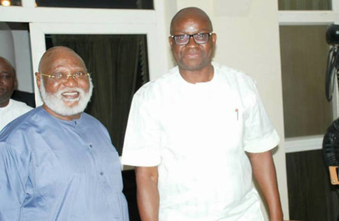Fayose and Abdulsalami1 690x450 - Emulate Abdulsalami Abubakar – Fayose advises Obasanjo