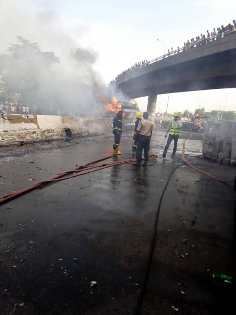 PHOTOS: Tanker Explodes with 33,000 Litres of Diesel Along Oshodi-Apapa Expressway, Lagos