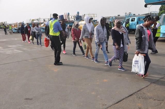 Nigerian Returnees from Libya - 262 Nigerians Deported From Libya Arrive Lagos Airport