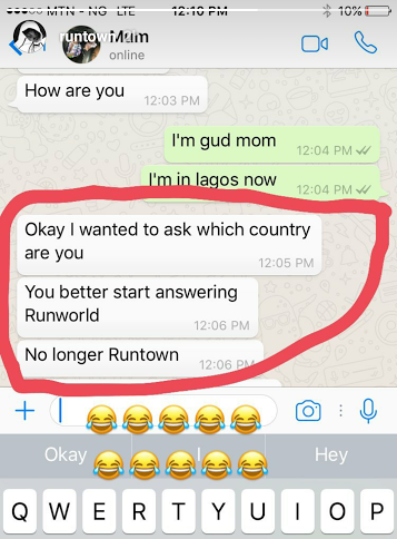Chat Between Runtown and His Mother