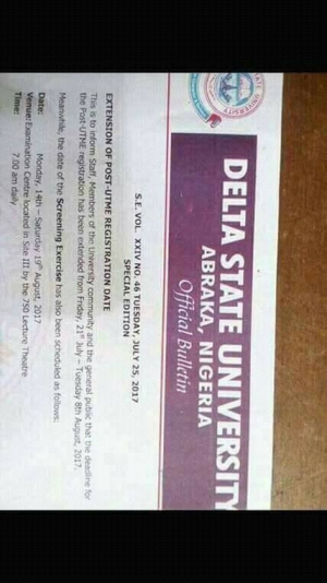 Photo of DELSU Admission Screening Date & New Registration Deadline For 2017/2018 Announced