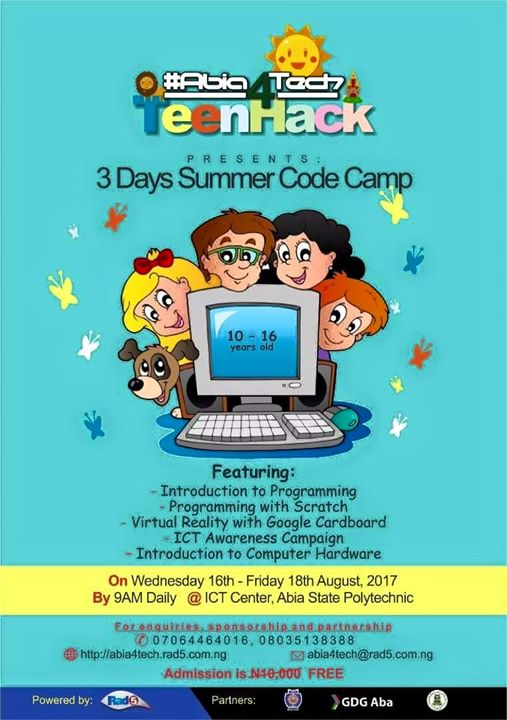 aba - Abia4Tech TeenHack Summer Code Camp For 2017