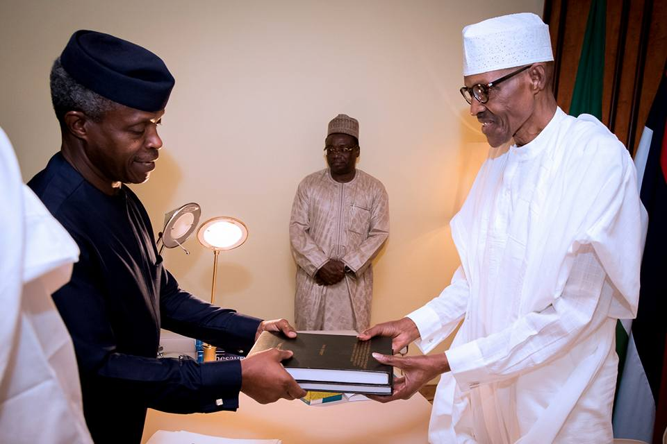 Buhari Osinbajo Report 1 - PHOTOS: Vice President Osinbajo Submits SGF, NIA Probe Report to President Buhari