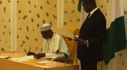Buhari Sign - President Buhari Signs Agreements On Anti-corruption, Tax Admin and Intellectual Property Protection