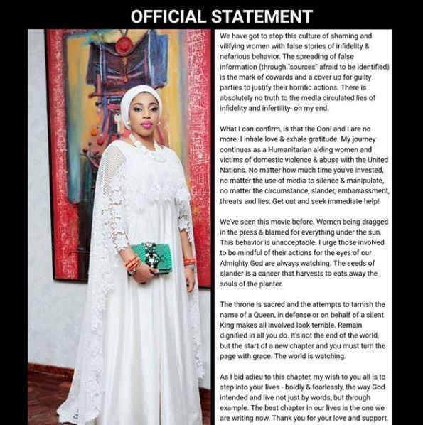 "olori wura1 - ""Ooni and I Are No More, I Never Cheated On Him"" - Olori Wuraola Finally Speaks Out On Marriage Crash"