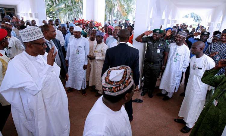 Buhari 5 - PHOTOS: President Buhari Observes Juma'at Prayer with Saraki, Namadi Sambo and Others