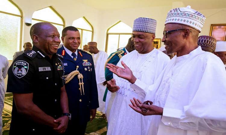 Buhari3 - PHOTOS: President Buhari Observes Juma'at Prayer with Saraki, Namadi Sambo and Others