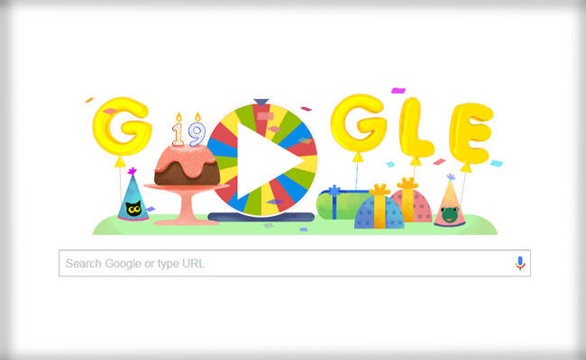 Google Celebrates 19years on Existence - Google celebrates 19th birthday with Surprise Spinner Doodle