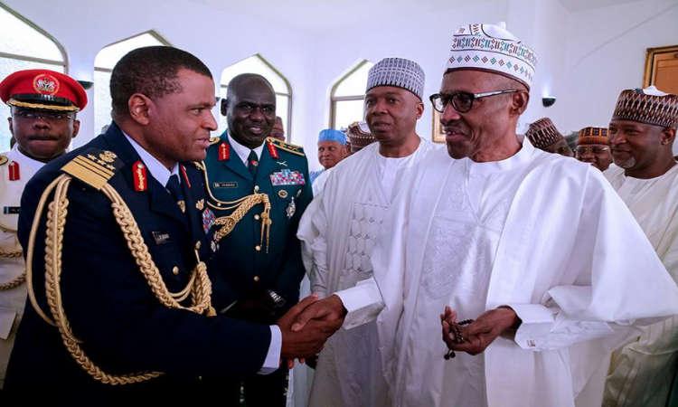 buhari 1 - PHOTOS: President Buhari Observes Juma'at Prayer with Saraki, Namadi Sambo and Others