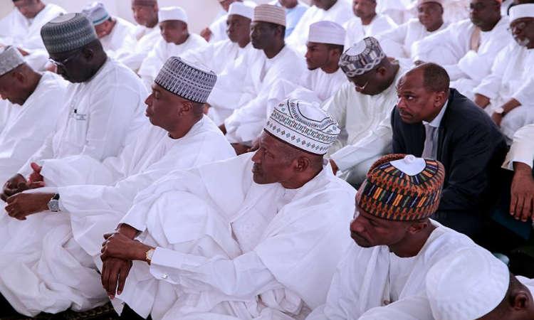 buhari1 - PHOTOS: President Buhari Observes Juma'at Prayer with Saraki, Namadi Sambo and Others