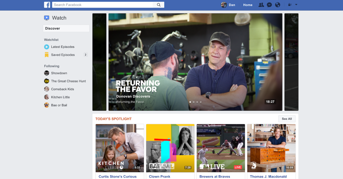 facebook watch tab1 - Facebook launches Watch video service in U.S