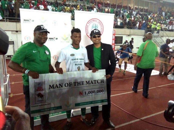 Shehu Abdullahi MOTM Oct7 2017 - Super Eagles' Shehu Abdullahi Wins N1million As Man of the Match Against Zambia