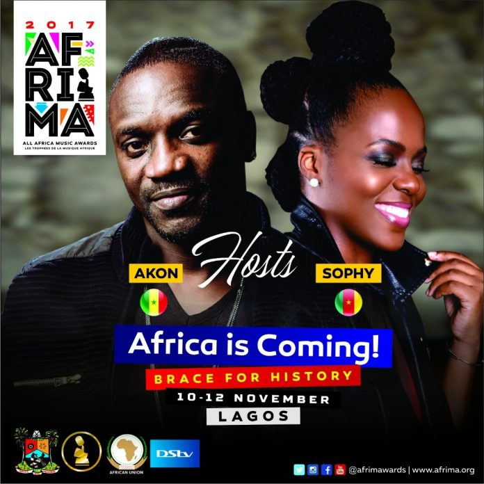 Akon Sophy - Akon, Sophy Unveiled As Host Of AFRIMA 2017 In Lagos