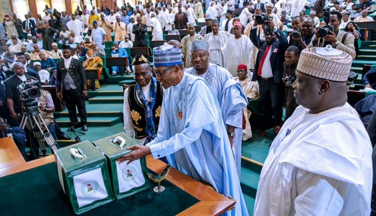 President Buhari presenting 2018 Budget at the National Assembly