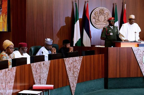 FEC photo 1 - PHOTOS: President Buhari Presides Over FEC Meeting As He Swears In Boss Mustapha