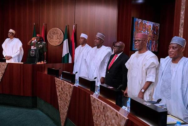 FEC photo1 - PHOTOS: President Buhari Presides Over FEC Meeting As He Swears In Boss Mustapha