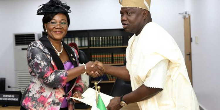 Lagos 20th Head of Service. - Gov. Ambode Swears-In Folasade Adesoye As 20th Head Of Service
