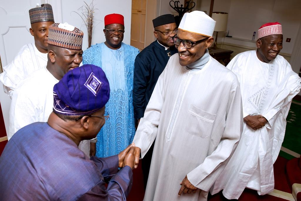PMB receives with Governors - President Buhari Meets with State Governors In Aso Rock Villa