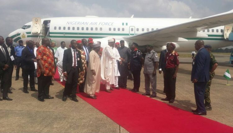 Buhari arrives ebonyi