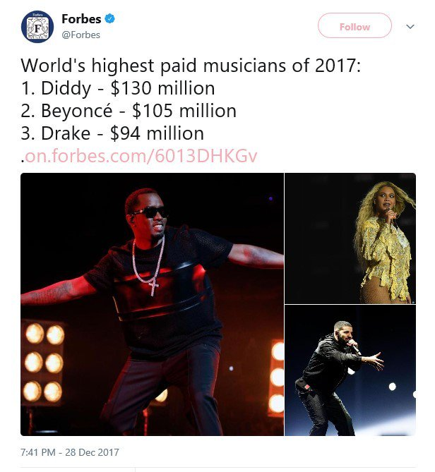 5a471d0d8389a - Full List: FORBES NAMES DIDDY, BEYONCE & DRAKE AS THE HIGHEST PAID MUSICIANS FOR 2017