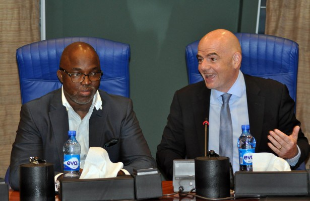 Photo of Gianni Infantino Congratulates Amaju Pinnick On Re-election As NFF President