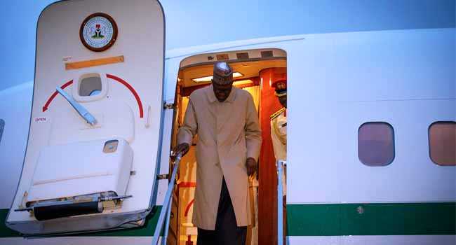 Photo of PHOTOS: President Buhari Arrives Paris For 'One Planet Summit'