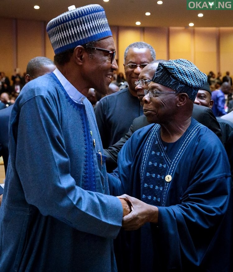 Buhari Obasanjo 1 - VIDEO: Moment Buhari, Obasanjo Met In Addis Ababa