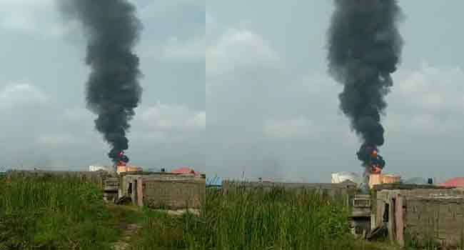 Lagos fire 1 - Residents Panic After Explosion Rocks Tank Farm In Lagos