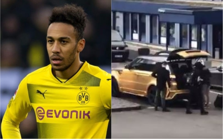 aubameyang airport arrival - Aubameyang Arrives at London to Complete Arsenal Move