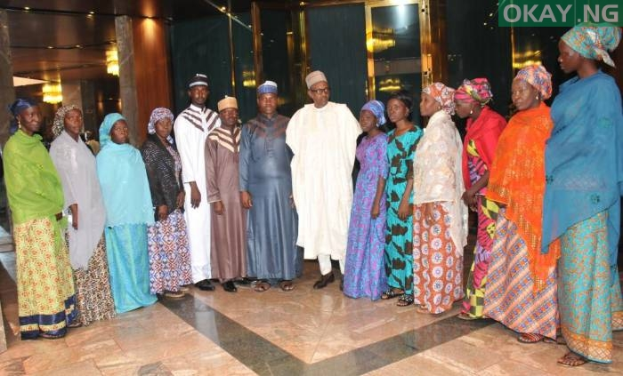 Photo of PHOTOS: Buhari Meets 3 UNIMAID Lecturers, 10 Women Freed by Boko Haram