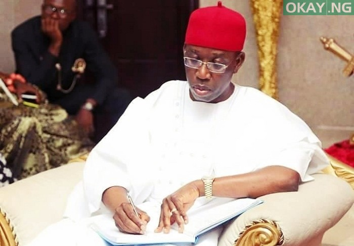 Photo of Gov. Okowa Sacks Two Commissioners