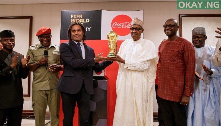Buhari FIFA World Cup 1 750x430 - PHOTOS: President Buhari Receives FIFA World Cup Trophy In Abuja