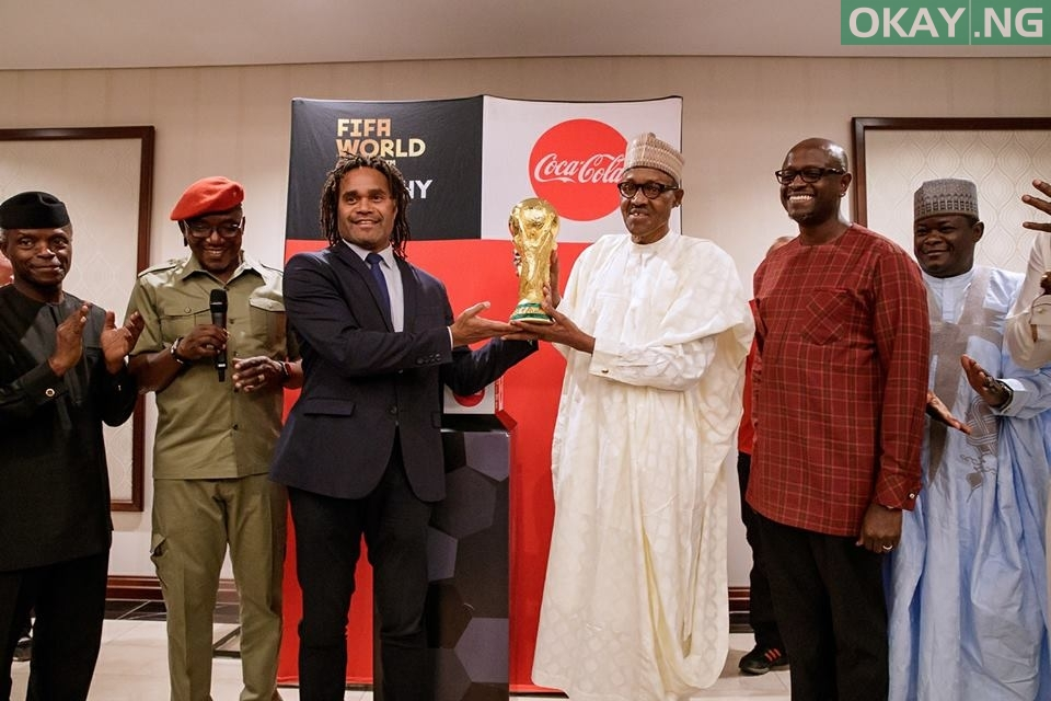 Buhari FIFA World Cup 1 - PHOTOS: President Buhari Receives FIFA World Cup Trophy In Abuja