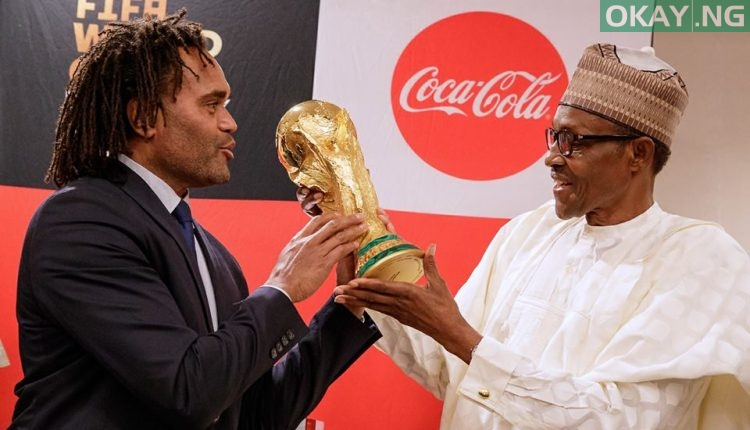 Buhari FIFA World Cup 2 750x430 - PHOTOS: President Buhari Receives FIFA World Cup Trophy In Abuja