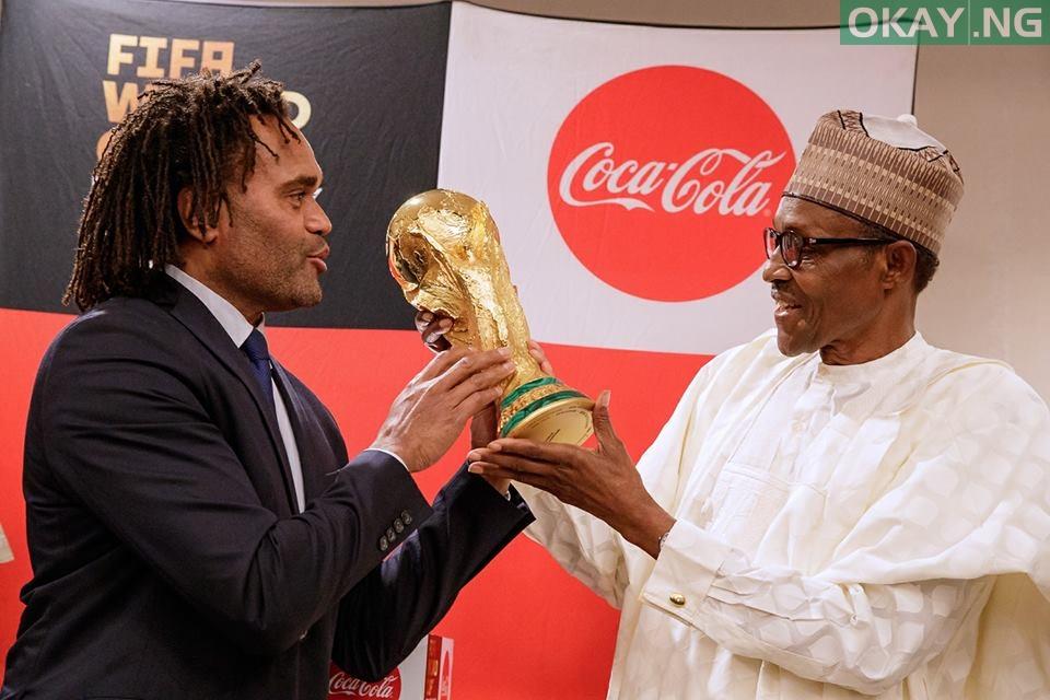 Buhari FIFA World Cup 2 - PHOTOS: President Buhari Receives FIFA World Cup Trophy In Abuja