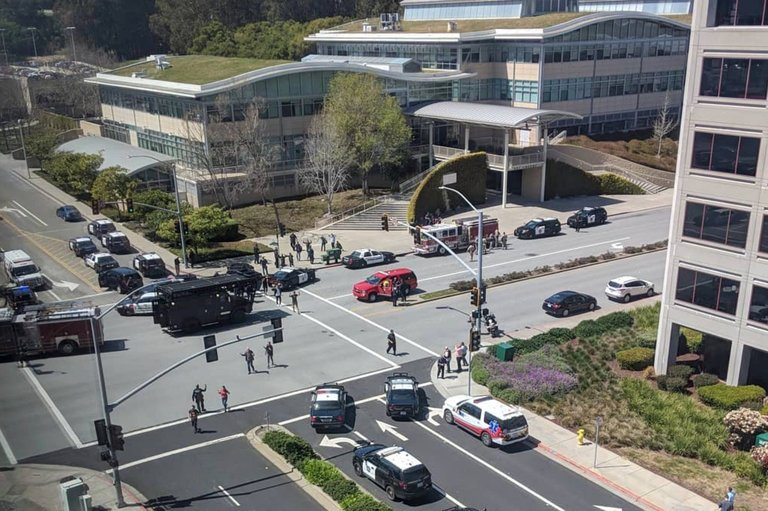 Police officers outside the YouTube headquarters in San Bruno, Calif.