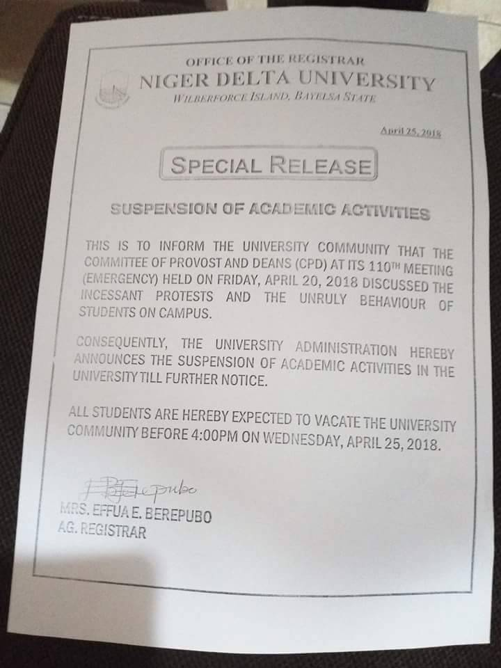 WhatsApp Image 2018 04 25 at 6.10.16 PM - Niger Delta University Suspend Academic Activities Due to Students Protest