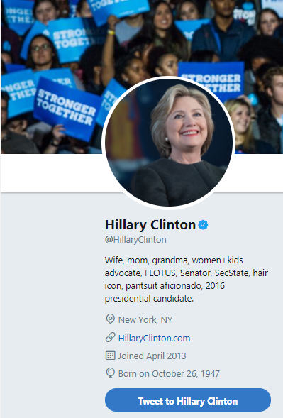 clinton - Hillary Clinton Changes Her Twitter Bio After Promising Chimamanda Ngozi Adichie