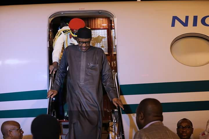 Photo of PHOTOS: President Buhari Returns to Nigeria After Official Visit to US